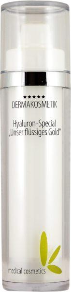 """Hyaluron Spezial """"flüssiges Gold"""" 50ml im doppelw. weißen Airlessspender"""